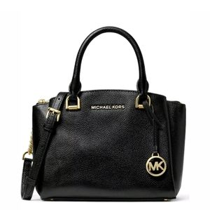 Michael Kors Bags - Michael Kors Maxine Small Messenger Bag Black/Gold